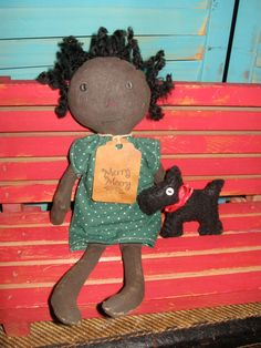 Primitive Black Christmas Prim Raggedy Folk by tagalongsprimitives Check out my website http://www.tagalongsprimitives.com