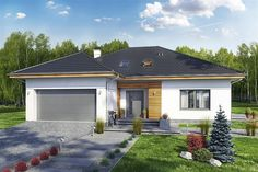 Projekt domu Heros z garażem 2 st. Modern Bungalow House, House Plans, Garage Doors, Outdoor Decor, Design, Home Decor, Beautiful Kitchens, Roof Tiles, Home Plans