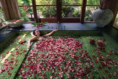 Four Seasons Resort Langkawi's Spa with a floral bath in Malaysia