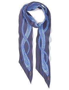 Blue Silk Snake Skinny Scarf   Rockins   Avenue32