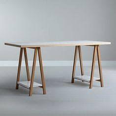 Buy House by John Lewis Highbury Trestle Desk from our Office Desks range at John Lewis & Partners. Plywood Furniture, Table Furniture, Furniture Design, Home Office Table, Home Office Decor, Office Ideas, Trestle Desk, Desk Inspiration, Simple Desk