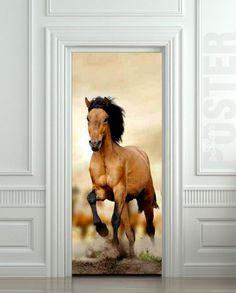"Door STICKER horse mare mustang hoof ride mural decole film self-adhesive poster 30x79""(77x200 cm) / | pulaton - Print on ArtFire"