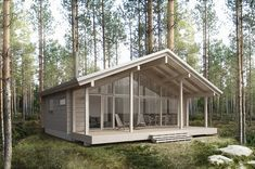 Sirius is a modern log cabin featuring a front elevation made entirely of glass. Rest House, Tiny House Cabin, House In The Woods, Small Prefab Cabins, Modern Log Cabins, Cabin Design, Cottage Design, House Design, Best House Plans
