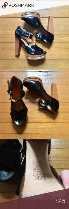 Michael Kors black strappy platform heels 5 1/2 Excellent used condition! Offers are welcome and bundling is encouraged. Lots of other items listed in my closet for posh. Michael Kors Shoes Platforms