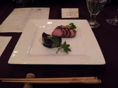 From Kyoto with Love Dinner Prepared by Chef Ryuta Sakamoto: 5th course- Yakimono- Roasted duck breast in Sakamoto Style with broiled eggplant with house made Suppon Miso.   Paired with 2005 Ken Wright Cellars Shea Vineyard Pinot Noir  #foodies #kyotocusine #Japan #KenWrightCellars
