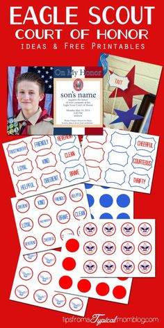 Eagle Scout Court of Honor Ideas and Free Printables including an invitation, program cover, cupcake toppers, and decorations. Head over and see the great ideas to help you plan your Eagle Scout Court of Honor. #BSA #Scouting #EagleScout