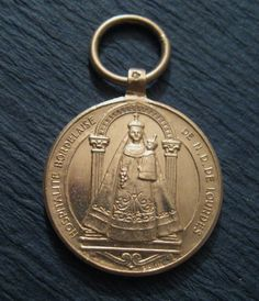 Antique Lourdes Religious Medal French Sterling Madonna Signed Penin SS-168