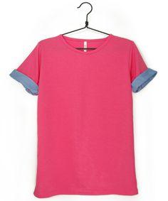 折り返しデニム柄カラーTシャツ  #シータ・ミュー