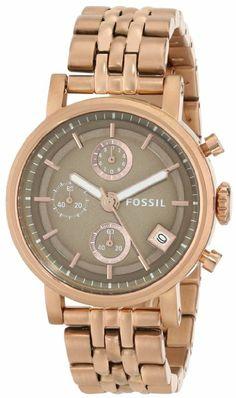 Fossil Women's ES3494 Original Boyfriend Analog Display Analog Quartz Rose Gold Watch