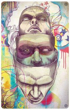 Ideas Pop Art Face Self Portraits Arte Pop, Art And Illustration, Art Sketches, Art Drawings, Pop Art Face, Tachisme, Ap Art, Psychedelic Art, Oeuvre D'art