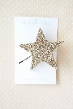 champaign crushed glitter star hairpin