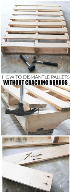 How to Dismantle Pallets Without Breaking Boards The easiest and cheapest way to dismantle pallets without cracking boards The post How to Dismantle Pallets Without Breaking Boards appeared first on Pallet Ideas. Wooden Pallet Projects, Wooden Pallet Furniture, Pallet Crafts, Wooden Pallets, Pallet Wood, Palet Projects, Pallet Couch, Pallet Tables, Pallet Patio