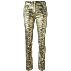 Roberto Cavalli Snakeskin Print Trousers ($1,474) ❤ liked on Polyvore featuring pants, metallic, metallic pants, snake print pants, brown pants, python pants and snakeskin print pants