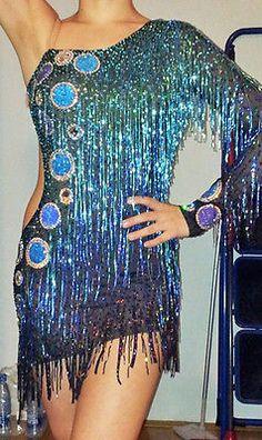 Women Rhythm Salsa Rumba Cha Samba Latin Dance Dress US 8 UK 10 Two Blue
