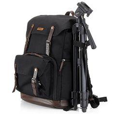 Camera bag backpack laptop dslr insert accessories tripod strap gadget bag for sony/canon EOS rebel/nikon/video cameras/lens (Black)