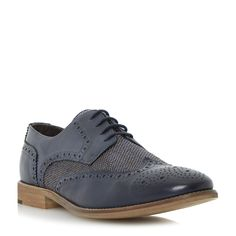 BERTIE MENS ASTON RAFFIA - Leather And Raffia Lace Up Brogue - navy | Dune Shoes Online