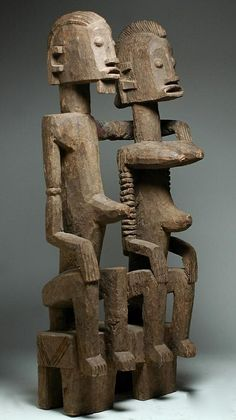 Africa | Primordial couple from the Dogon people of Mali | Wood | ca. early to mid 20th century
