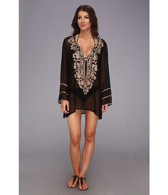 Ella Moss Belle Floral Cover Up Tunic Black - Zappos.com Free Shipping BOTH Ways