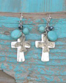 Double Metal Cross Earrings $9.99