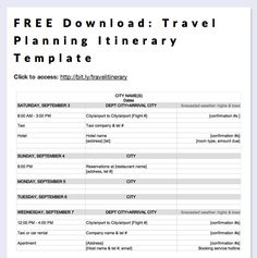 create a one page summary of your travel plans using this