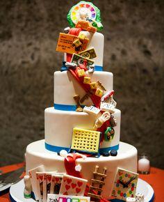 Game-board Inspired Wedding Cake | Adeline & Grace Photography | blog.theknot.com