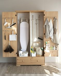 📌 Tool Storage Cabinet Or DIY Garage Organized Or Garden Tool Storage and Backyard Shed « Utility Room Storage, Utility Closet, Laundry Room Organization, Broom Storage, Ironing Board Storage, Vacuum Storage, Laundry Storage, Laundry Room Layouts, Laundry Room Design