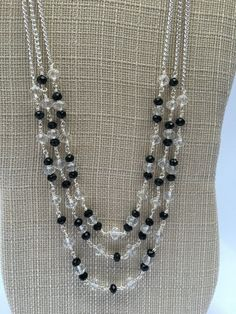 Shelly-Long Black Beaded Necklace Game day necklace by Trinkets By Thandeka on Etsy