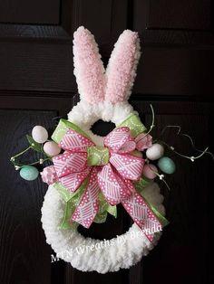 Easter Decor Easter Bunny Wreath Front Door Hanger Nursery Decor MTN Wreaths by Brenda Rabbit Decor Easter Bunny Decorations, Easter Wreaths, Holiday Wreaths, Easter Decor, Bunny Crafts, Easter Crafts, Diy Ostern, Hoppy Easter, Diy Wreath