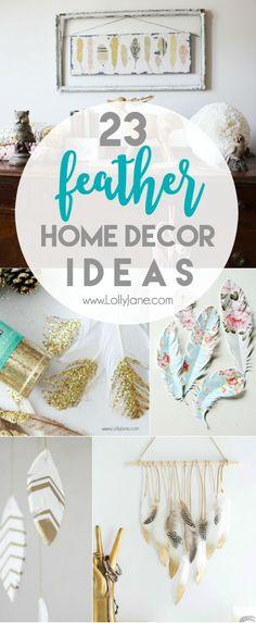23 DIY feather home decor ideas. Love these fun home decor ideas! Great feather crafts to create affordable home decor!