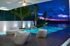 revêtement de sol en pierre naturelle granit pour la terrasse extérieure avec piscine