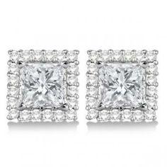 Pave Set Square Diamond Earring Jackets 14k White Gold 0 55ct