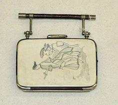 Coin purse,  Date: late 19th century,  Culture: American,  Medium: bone, nickel, leather