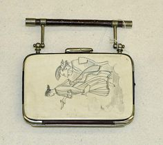 Bone, Nickel and Leather Coin purse, late 19th century