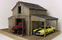 1:24 1:25 Danbury Mint / Franklin Mint Barn / garage diorama with lights 50 pics