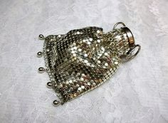 Silver Metal Mesh Coin Purse Rosary Pouch Chainmail by donDiLights