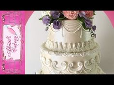 Floral Wedding Cakes In 2020 Spring Floral Wedding Cake Long Tutorial Lambeth Style Fondant Rose, Fondant Flowers, Sugar Flowers, Buttercream Roses, Fondant Baby, Fondant Cakes, Pretty Wedding Cakes, Floral Wedding Cakes, Wedding Cakes With Flowers