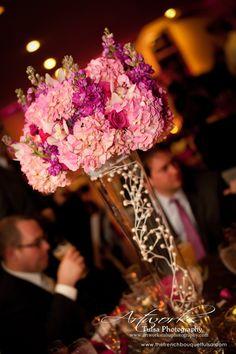 Tall Soft Pink Hydrangea Centerpiece in Glass Vase