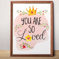 Baby girl nursery art print You are loved Nursery by AlniPrints #print #floral #download #love #decor #kidsroom #nursery #babygirl #quote #inspiration