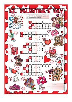 Valentine's Day CROSSWORD - A Simple crossword for young learners to practise Valentine's vocabulary. Valentines Day Activities, Valentine Crafts, Holiday Crafts, Holiday Fun, 4th Grade Math Worksheets, Kindergarten Activities, Saint Valentine, Valentine Day Love, Spring Coloring Pages