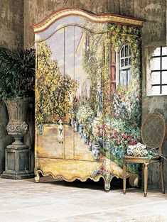 """Monet """"The House at Argenteuil"""" Armoire by Habersham Home (Painted Furniture) Hand Painted Furniture, Funky Furniture, Paint Furniture, Shabby Chic Furniture, Furniture Makeover, Antique Furniture, Furniture Ideas, Habersham Furniture, Furniture Design"""