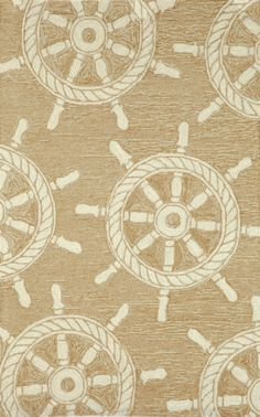 Nautical Ship Wheel Area Rug in Sand and White.