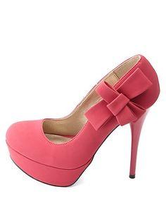c6a4e8711510 Side-Bow Platform Pumps  Charlotte Russe Colorful Heels