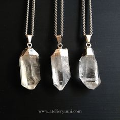 Raw Crystal Necklace, Clear Quartz Point Necklace, Natural Raw Stone. $42.00, via Etsy.