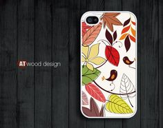 iphone 4 case iphone 4s case iphone 4 cover bird red yellow leaves  illustrator flower graphic design printing. $13.99, via Etsy.