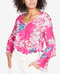 """Rachel Roy Ruffled Sleeve Top-gorgeous floral print front & back, v neckline, long 2 tier ruffled sleeves, curved hem front & back, hits at hip, polyester, machine wash, size 0: chest 32"""", waist 25"""", hip 35"""", (no waist shape, darker than photo) Macy's (0)"""
