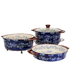 Lovely Lace. Add these beautiful--and versatile--Cook & Look bakers to your kitchen collection. The three round sizes accommodate almost any recipe, and the glass lid helps you keep an eye on your dish's progress as it bakes to perfection. From Temp-tations(R) Ovenware. QVC.com