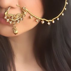 Nose Ring Jewelry, Indian Jewelry Earrings, Indian Jewelry Sets, Jewelry Design Earrings, Indian Wedding Jewelry, Bridal Jewelry, Jewelery, Indian Bridal, Nath Nose Ring