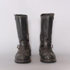 vintage men's carolina black leather steel toe motorcycle boots.