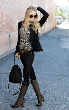 This would be very easy to recreate: boots, skinny jeans, blazer, leopard print top 27 Cute Winter Street Style Outfits