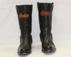 RARE Vintage Indian Motorcycle Brand Leather Riding Boots USA Made ~ sz 9 43 MENS ~ Biker Cowboy Equestrian Harley ~ Womens 11? ~ Square Toe